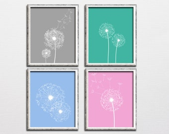 Printable set of 4 home wall decor dandelion seeds in the wind nursery wall art download, printable set instant download dandelion