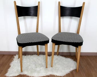 Pair of vintage chairs, black/white fabric.