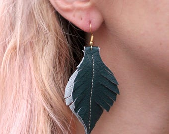 Green Vegan Leather Feather Lightweight HERO Earring - Stainless Steel