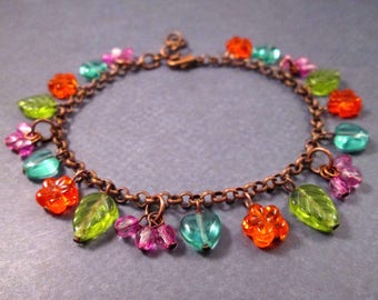 Colorful Charm Bracelet, Orange Flowers, Blue Hearts, Green Leaves, Pink Berries, Copper Beaded Bracelet, FREE Shipping U.S.