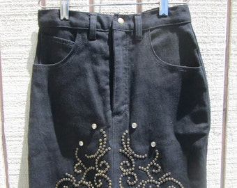 SALE Un worn 80's vintage brass and glass studded stretch jeans skirt