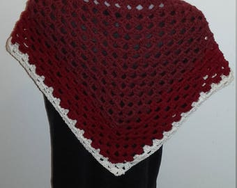 shawl/scarf / red and white crochet all occasion/wedding/baptism/holiday season