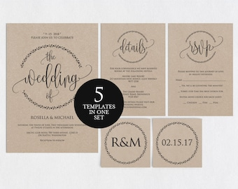 Wedding Invitation Template, Wedding invitation template, Wedding Invite, Kraft wedding Invitation, pdf instant download, WPC_3SD2A
