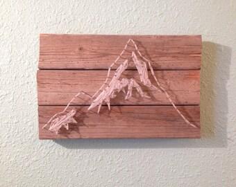 Montaña cadena arte | Arte de madera | Arte del clavo