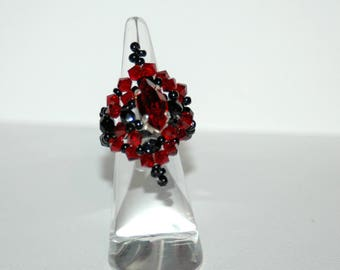 Red and black baroque Swarovski Crystal ring