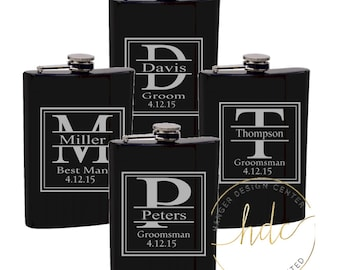 Groomsman Gifts/SET OF 6 Engraved 8 oz. Flasks/Best Man Gift/Bridal Party Gifts/Father of the Bride/Father of the Groom/