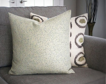 Light green yellow with blue squares cushion cover