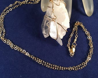 Quartz Crystal Pendant Wrapped in 14kt Gold Filled Wire 2.25 Inches Long 1 Inch Wide on 14kt Gold Filled 22.5 Inch Chain, One of a Kind
