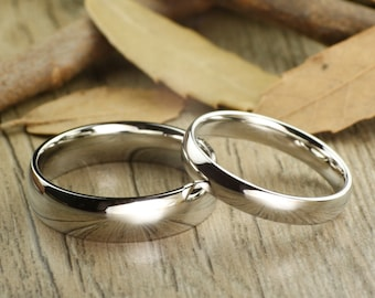 His and Hers Matching White Gold Polish Wedding Bands Rings 6mm and 4mm Wide Titanium Rings Set