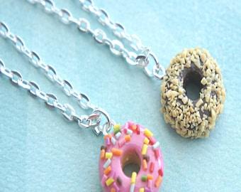 scented donut necklace- donut charm, donut jewelry, miniature food jewelry
