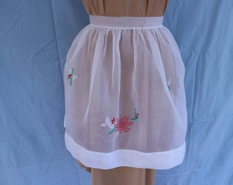 Vintage fine white organza half apron with Christmas design hand embroidery.  Proceeds to charity