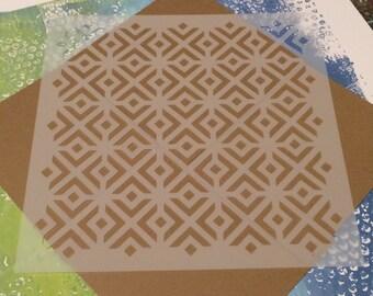 Square 8.5 inch stencil - Square Retro Pattern