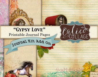Gypsy Love, Journal Pages, Kit Add On, Journal Paper, Printable Paper, Gypsy Images, Journal Cards, Journal Supplies, Printable Journal