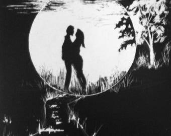 The Hollow Moon original scraper board etching