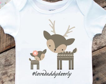 Father's Day Gift, Love Daddy Deerly Onesies®, Baby Girl Onesie, Daddy and Daughter, Deer Onesie, Woodland Baby, New Dad, Cute Baby Clothes