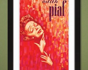 Vintage Music Poster – Edith Piaf v1 (12x18 Heavyweight Art Print)