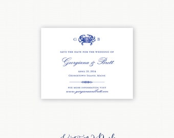 """Crab Monogram Save the Date, Crab Save the Date, Nautical Save the Date, Beach Save the Date, """"Crab Monogram"""""""