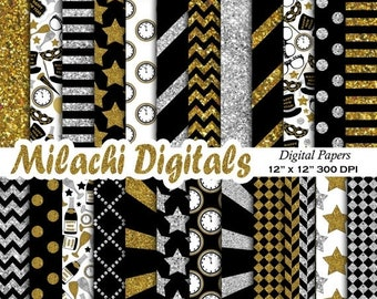 60% OFF SALE Happy New Year digital paper, new year's eve scrapbook papers, new year wallpaper, black gold and silver background-M468