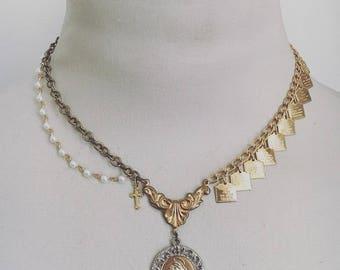 Catholic Charm Necklace, Asymmetrical Necklace, Christian Necklace, Saints Necklace, 10 Commandments Jewelry, Religious Necklace,