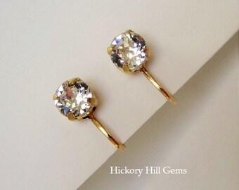 Clip On Earrings Crystal clip-on earrings CLEAR Crystal Rhinestone Clip On Earrings, clip earrings SWAROVSKI Crystal, GOLD plated