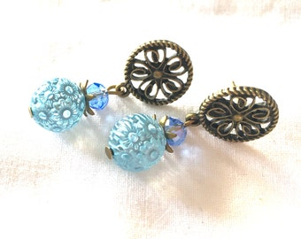 earrings water flower blue