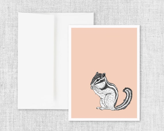 "animal art greeting card, modern greeting card, blank greeting card, greeting card set, chipmunk, drawing, ink drawing, nature - ""Chipmunk"""