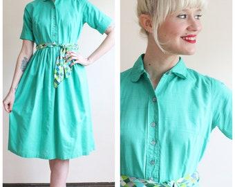 1950s Dress // Teal Shirtwaist Dress // vintage 50s dress
