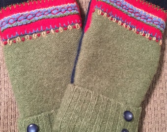 B1    Hand appliquéd felted wool mittens size medium