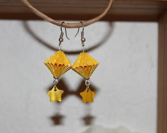 Yellow Origami paper earrings.