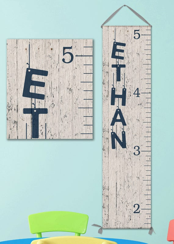 Boys Growth Chart - Canvas Personalized Growth Chart, Wooden Height Ruler, Personalized Baby Boy Gifts - GC0100N