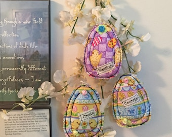 3 fabric egg bowl fillers, Easter tree, Easter Ornament, egg ornament, fiber art egg, spring ornament, spring décor, spring décor,set of 3#4