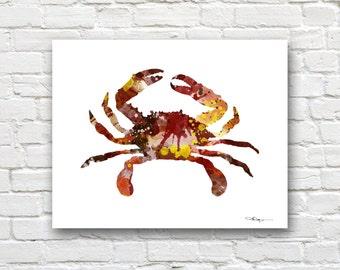 Crab Art Print - Abstract Watercolor Painting - Kitchen Art - Wall Decor