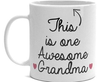 Proud Grandma Mug - One Awesome Grandma - Grandma Gift