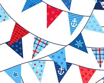 White Pennant Flags - First Mate by Deborah Edwards from Northcott Fabrics - Deborah Edwards Fabrics - Kids Fabrics - Fabric by the Yard