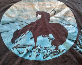 Vintage Screen Stars Oklahoma T-Shirt Super Soft Faded Worn In Native American Indian on a Horse