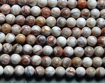 8mm Mexico Crazy Lace Agate Round Polished Semi-Precious Beads, Half Strand (IND1C575)