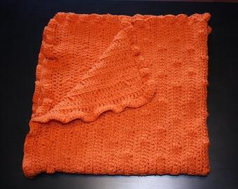 Orange bobble blanket - crocheted - baby blanket - crochet blanket - gender neutral - baby shower-ruffle blanket-textured blanket