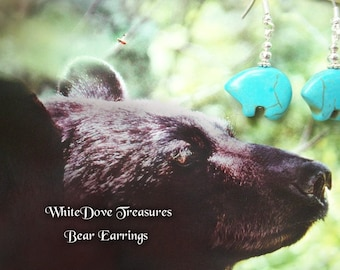 Turquoise Bear Earrings ~ Bridesmaid Special Price ~ Bear Fetish Magnasite