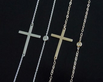 Kelly Cross Necklace in 14kt White or Yellow Gold with Diamond Bezel