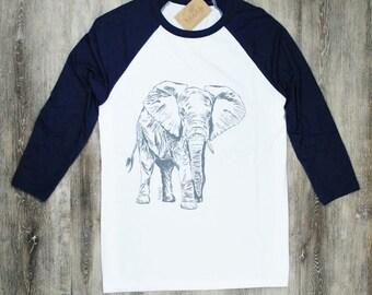 Mens TShirts - Mens Baseball Tee - Elephant TShirt - Screen Printed - African Tees - Mens Animal T-shirt - African Safari Tee - Grey