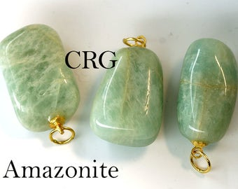 Tumbled AMAZONITE Pendant with Gold Bail (TU12DG)
