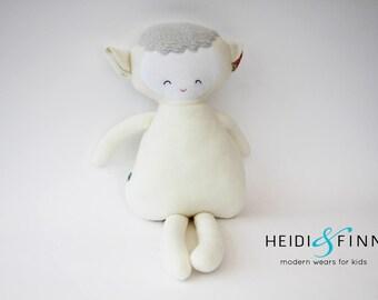 Sample SALE Pillow doll sheep lamb keepsake gift OOAK ivory vintage white ready to ship