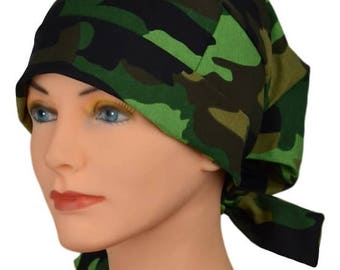 Scrub Hats // Scrub Caps // Scrub Hats for Women // The Hat Cottage // LARGE // Fabric Ties // Camouflage
