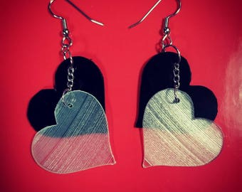 Heart Shaped Vinyl Record Earrings