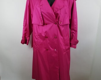 Vintage Magenta Bright Pink Trench Coat Button Down by Misty Weather 14 Womens L