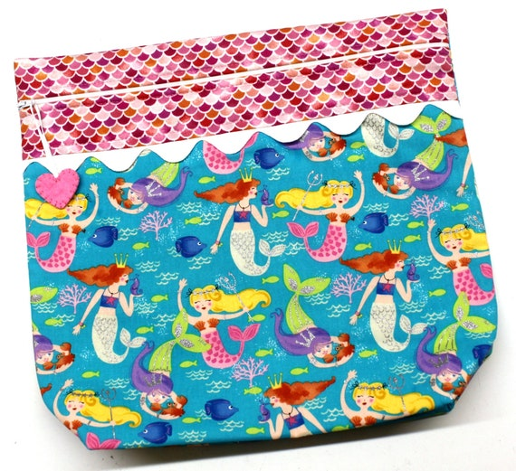MORE2LUV Teal Pink Mermaids Cross Stitch Embroidery Project Bag