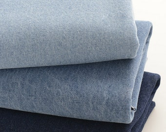 Cotton Denim Fabric, Washed Denim Fabric, Heavy Weight, Dark Medium and light blue colors - 1/2 yard