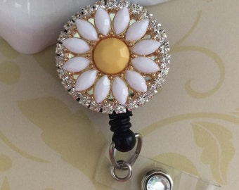 White And Yellow Daisy Flower Retractable ID Badge Reel