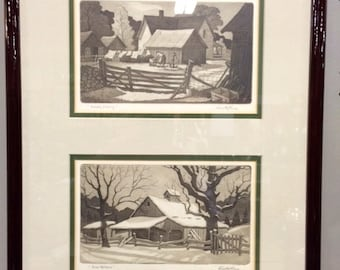 Framed Artist Signed & Titled Aquatint Etchings by Kenneth Reeves