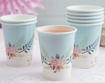 Paper cups, Floral  Cups ,baby shower  decorations, party supplies, Paper Cups, Mothers Day